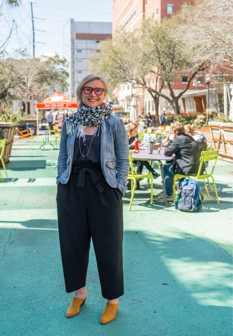"""""""Livability is shaped by what happens in the public realm,"""" says the director of the Urban Land Institute's South Carolina chapter, Amy Barrett, shown here at the pedestrian mall on MUSC's campus, public space reclaimed from a street closed to car traffic."""