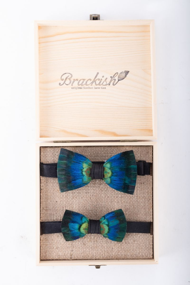 "Brackish ""Cali"" father and son bow tie set, $350 at Grady Ervin & Co."