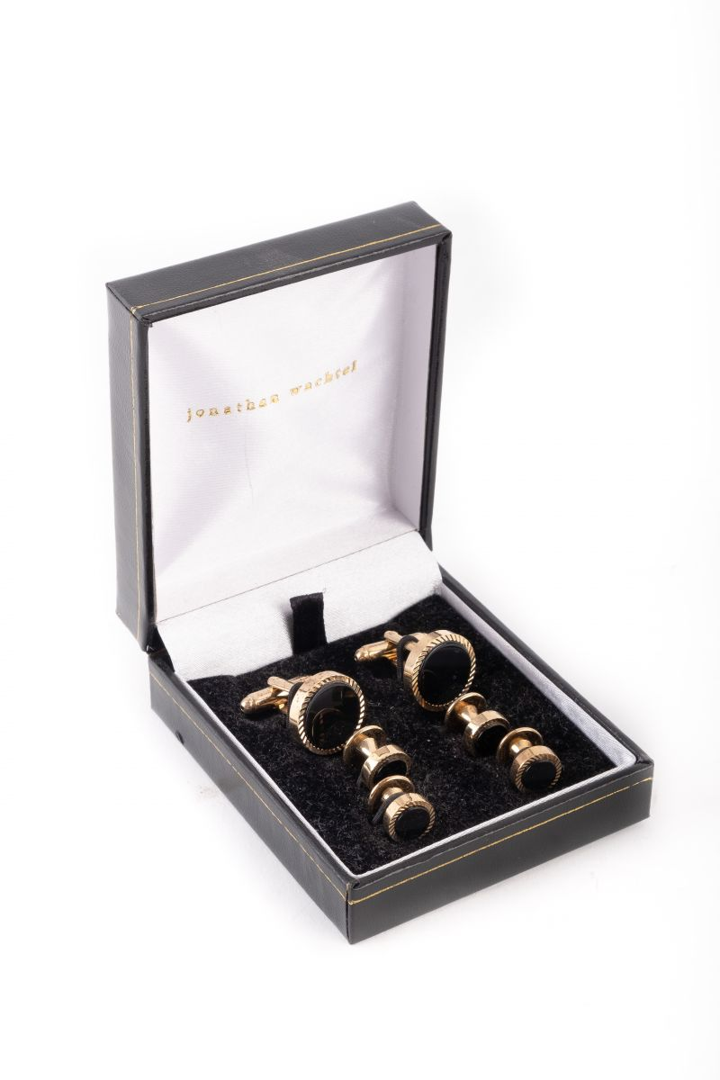 "Jonathan Wachtel ""Stud"" cufflinks set, $175 at M. Dumas & Sons"