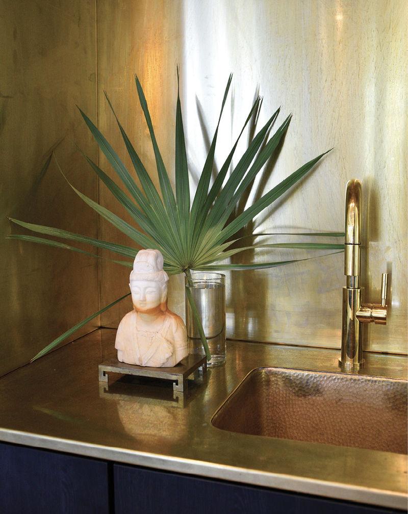 Unlacquered brass wet bar