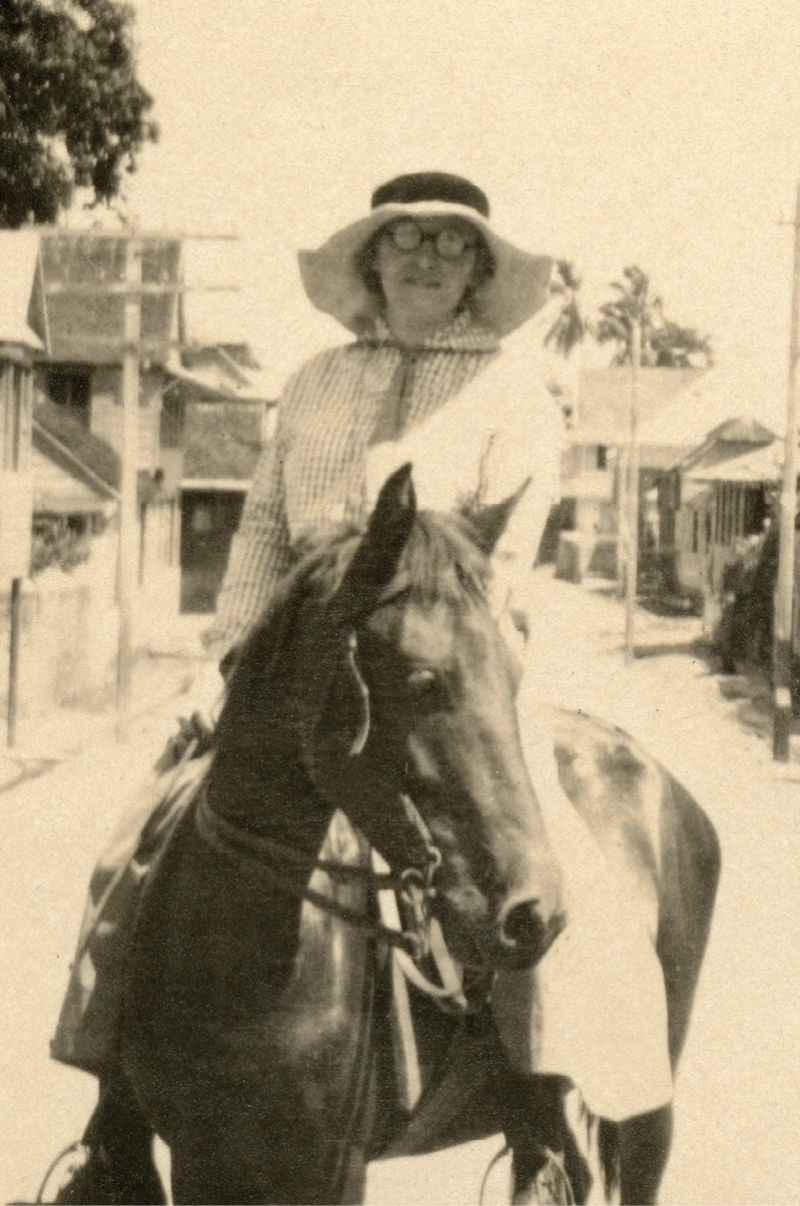 Anna Heyward Taylor on expedition in British Guiana (present-day Guyana)