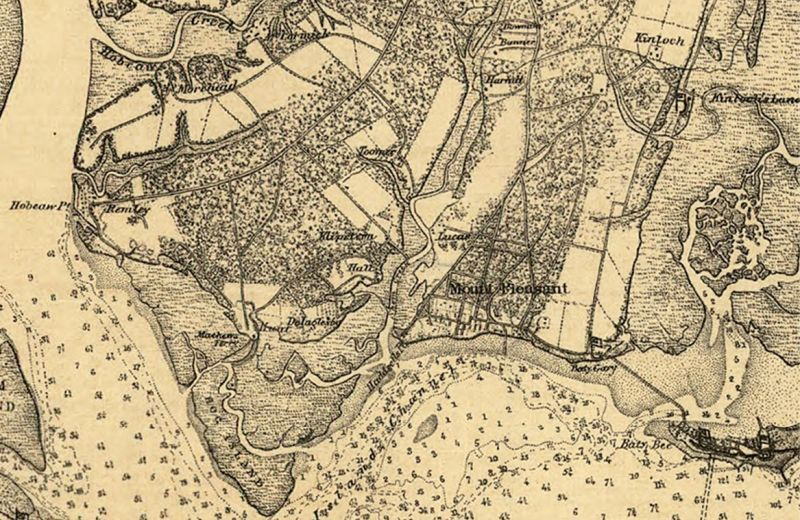 For centuries, plantations bordered both sides of the creek, as shown in this 1863 Map of Charleston and Its Defences