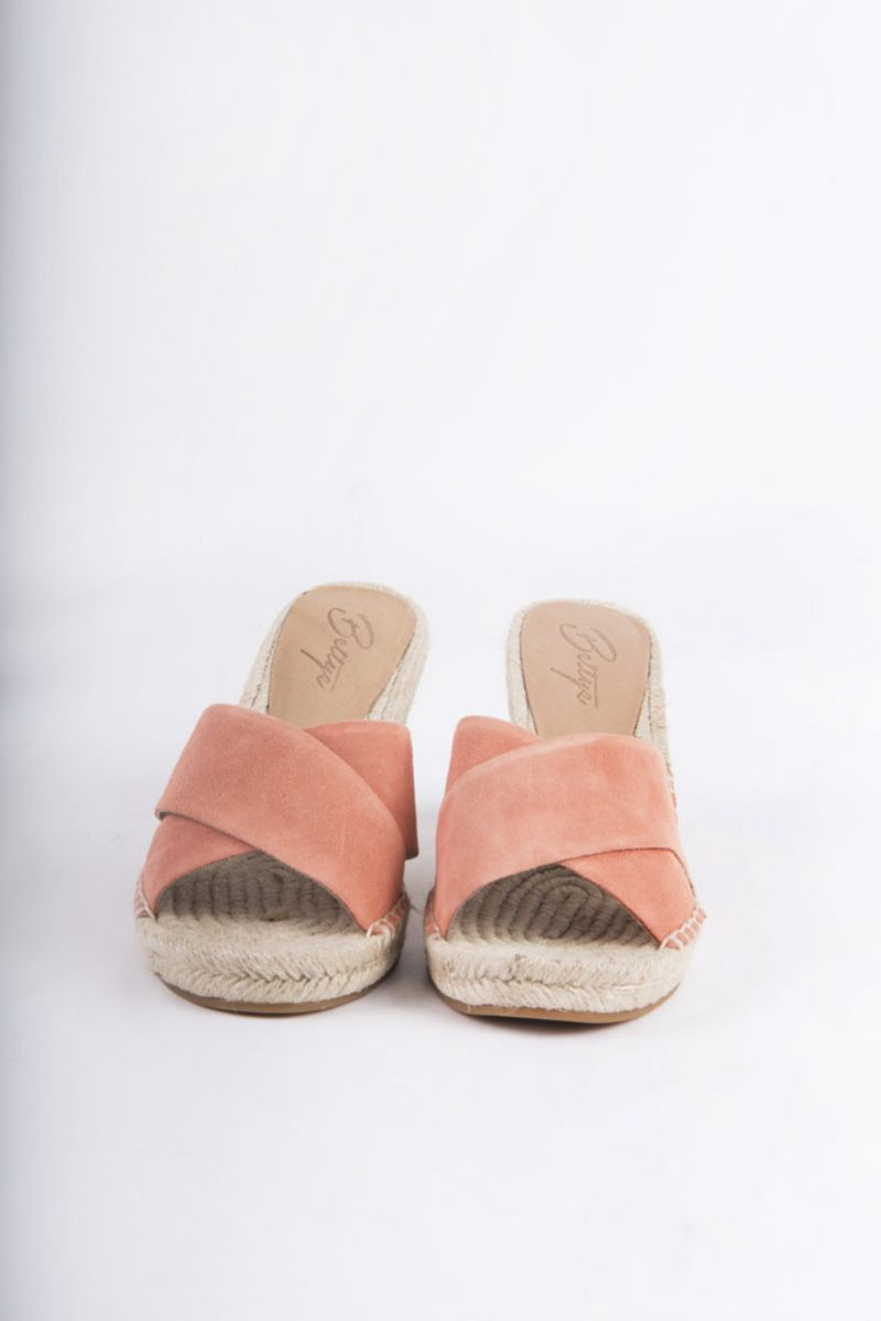 "Bettye ""Hanna"" wedge espadrille slides in coral suede, $49.50 at Belk"