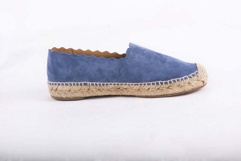 "Chloe ""Lauren"" espadrille flat in blue kidskin suede, $445 at RTW"