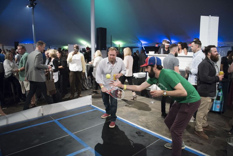 Guests got competitive on the life-size ping pong table