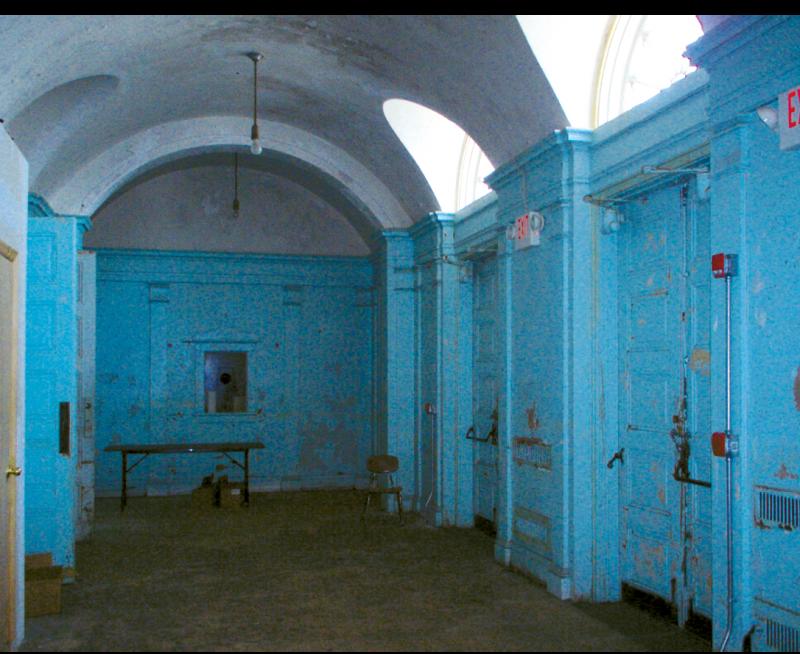 A dilapidated Memminger Auditorium.