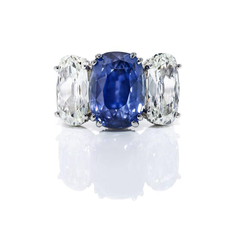 Kiersten Elizabeth Fine Jewelry GIA Certified 14.04 ct cushion-cut sapphire and cushion diamond platinum ring, $123,250 at kierstenelizabethfinejewelry.com