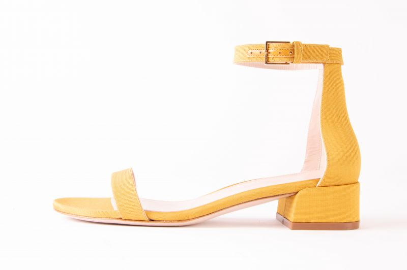 "Stuart Weitzman ""Less Nudist"" sandal in ""ochre moare,"" $375 at Gwynn's of Mount Pleasant"