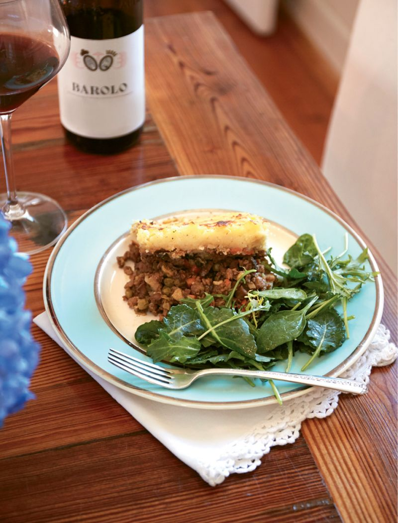 Emerson riffs on traditional shepard's pie by using soy meat crumbles; for a more classic version, you can substitute one pound of minced lamb.