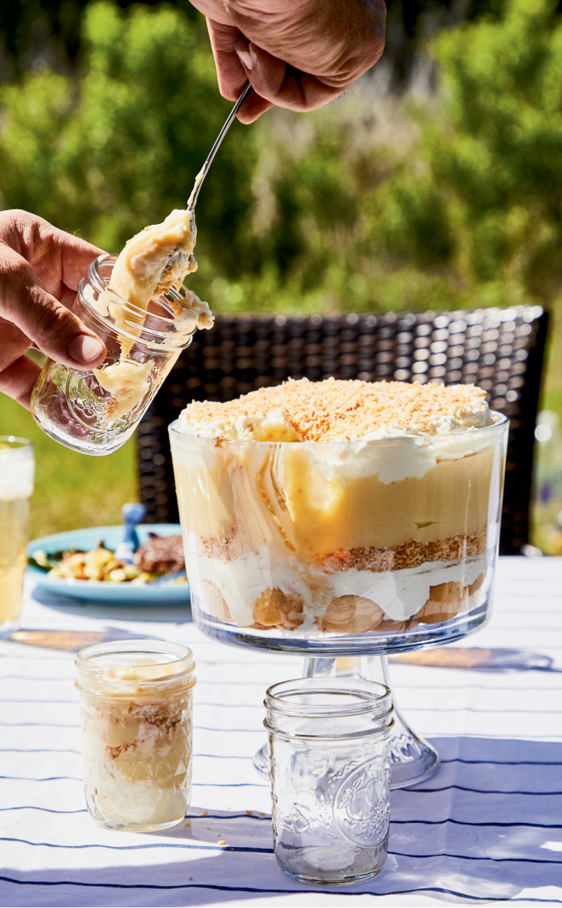 Tropical Twist: Bands of coconut pudding and toasted coconut mingle with whipped cream and vanilla wafers in this luscious spin on the classic banana pudding dessert