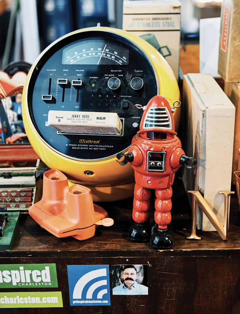 Collectibles, like the eight-track tape player featuring a Jerry Reed cartridge, are castoffs from friends and family members.
