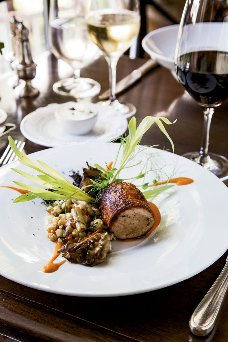 Chef Chris Huerta's roulade of stuffed guinea hen with roasted local mushrooms