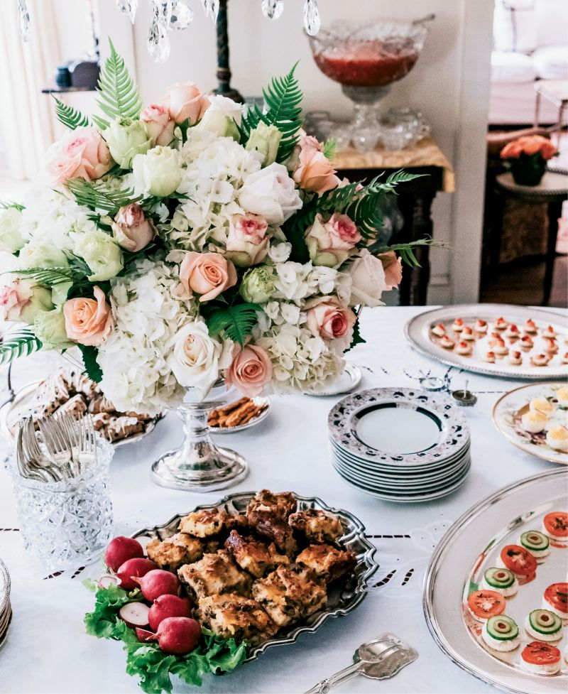 """""""Make sure each offering, unless it's pick-up food, has its own serving piece and always refill in the kitchen, not at the table,"""" Mitchell reminds"""