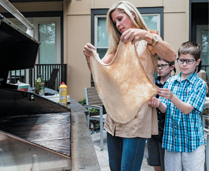 When grilling pizza, make sure to have your toppings ready, as the dough cooks quickly.