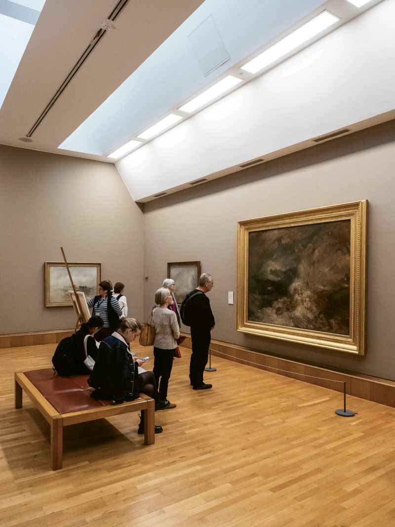 "...as well as ""Stormy Sea,"" a collection of works by English painter J. M. W. Turner."