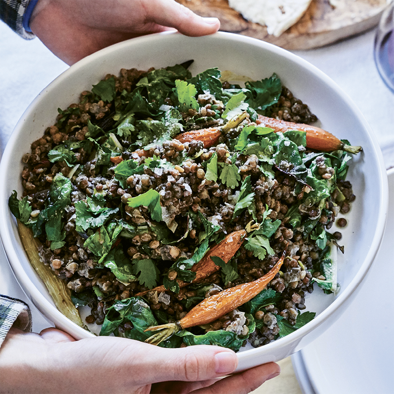 Warm Lentil, Roasted Carrot, & Herb Salad