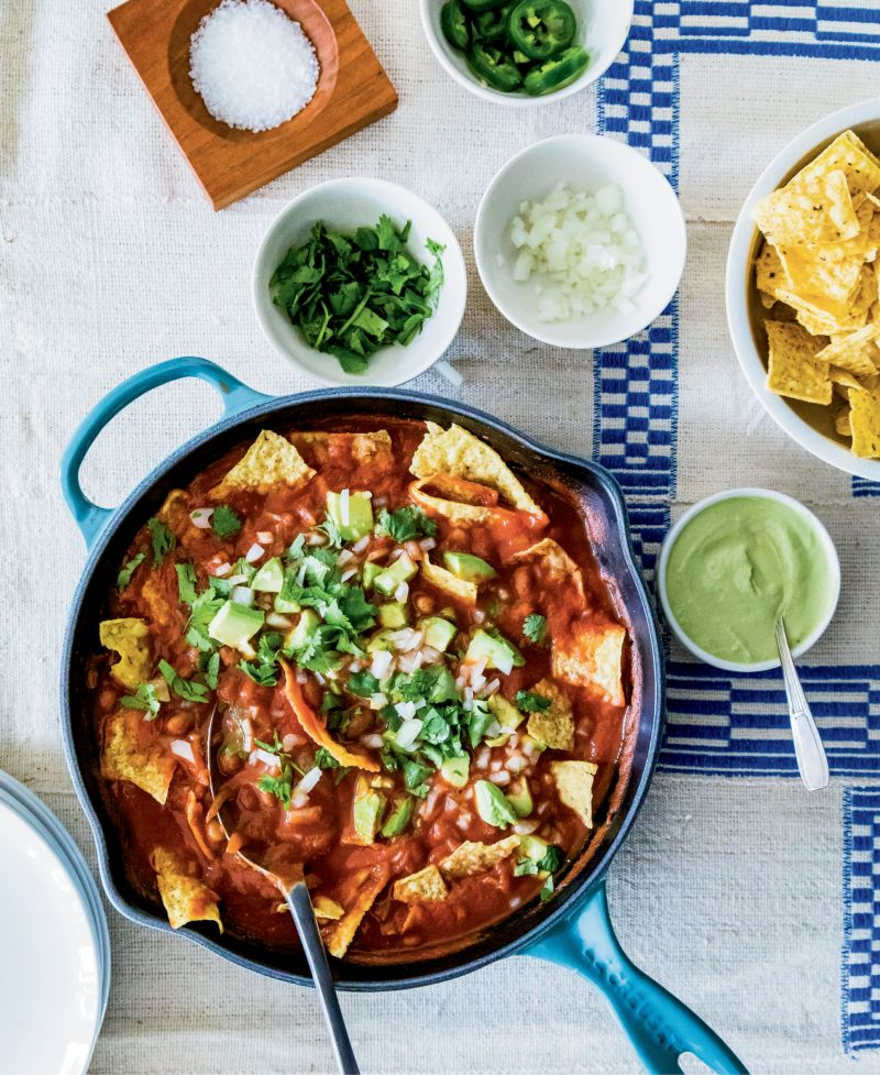 A crowd-pleaser from One Part Plant: chilaquiles with cilantro cream