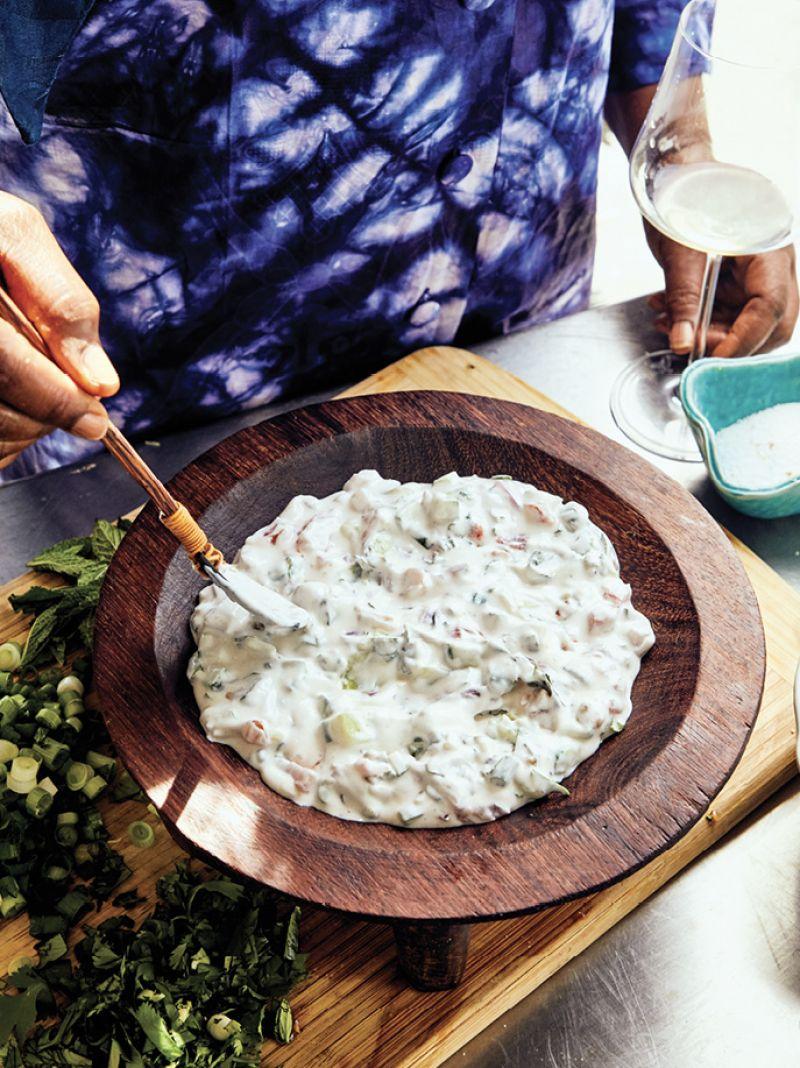 Raita made with Greek yogurt