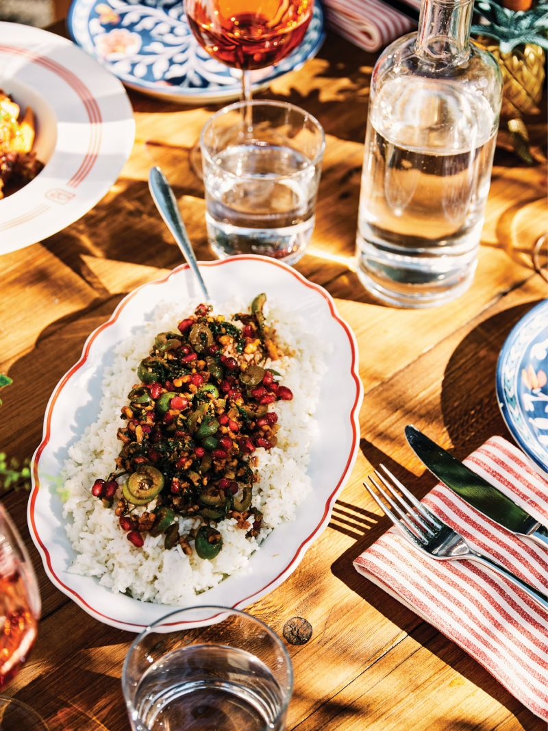 The day's menu brings together favorites from both Basic Kitchen and the Post House, including this fragrant Charleston Gold rice pilaf with pomegranate, mint, and olives.
