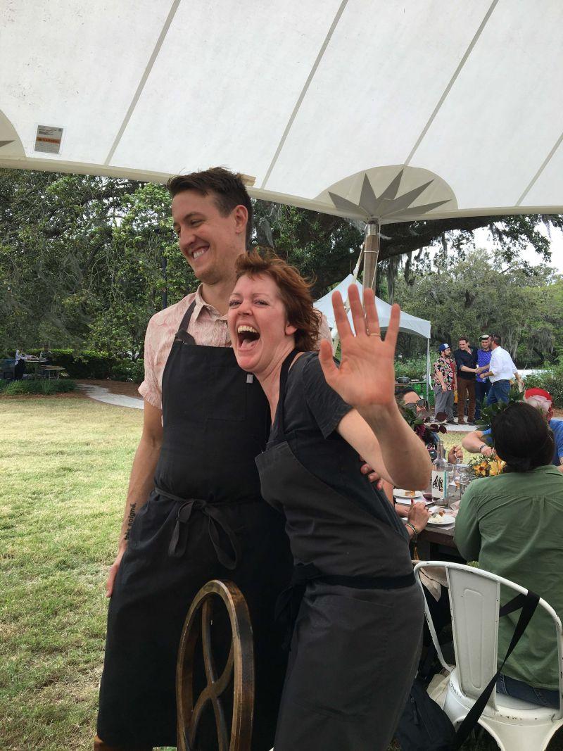Chefs Evan Gaudreau and Jill Mathias take a bow.