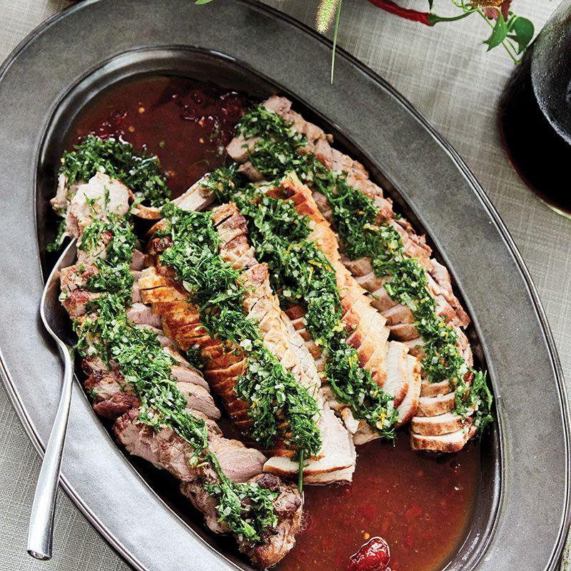Roast pork loin with mint gremolata