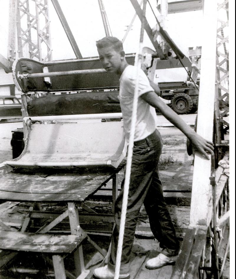 Robert Knight working the Ferris wheel in 1956