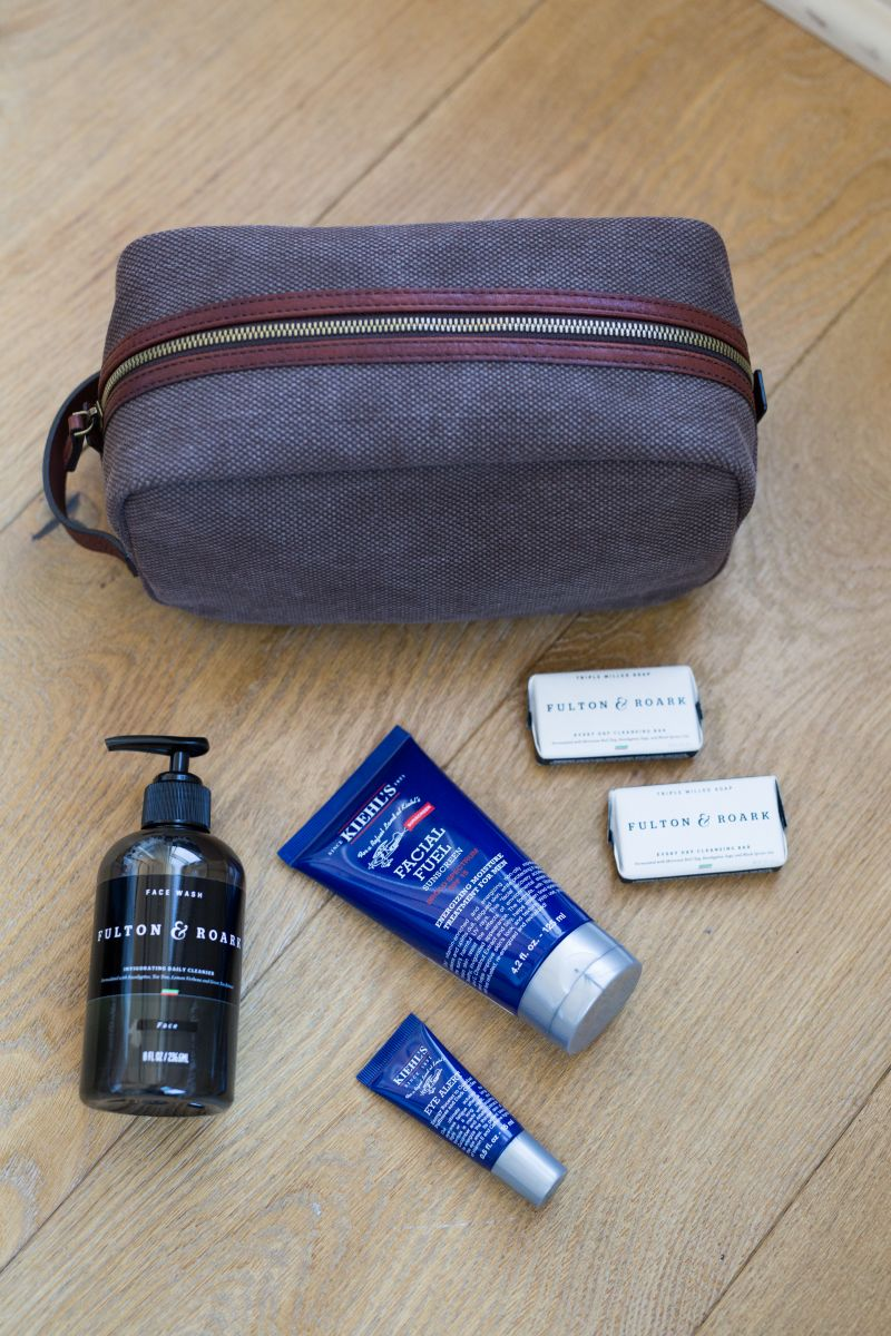 Dopp Kit from Grady Ervin & Co.; Fulton & Roark products from M. Dumas & Sons; Kiehls Men's products from Gwynn's of Mount Pleasant
