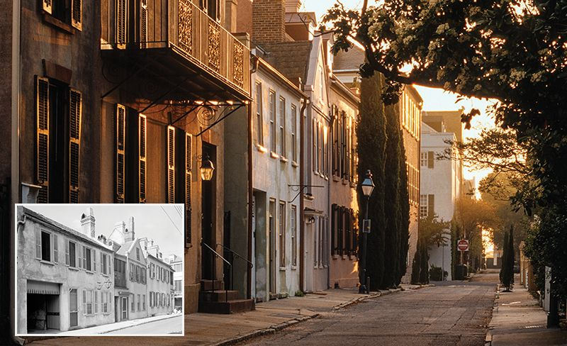 St. Michael's Alley; (Inset) Image taken in 1937 by architectural photographer Frances Benjamin Johnston for the Carnegie Survey of the Architecture of the South.