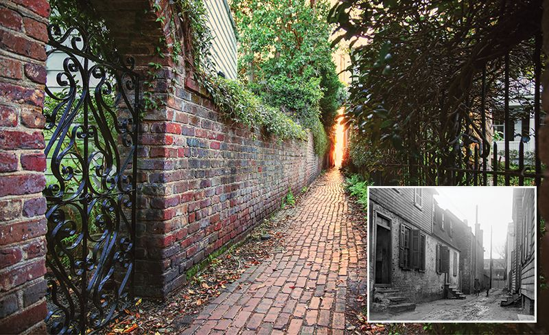 (Inset) Stoll's Alley, circa 1880.