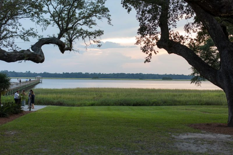The dinner was accompanied by a lovely view of the Ashley River at sunset