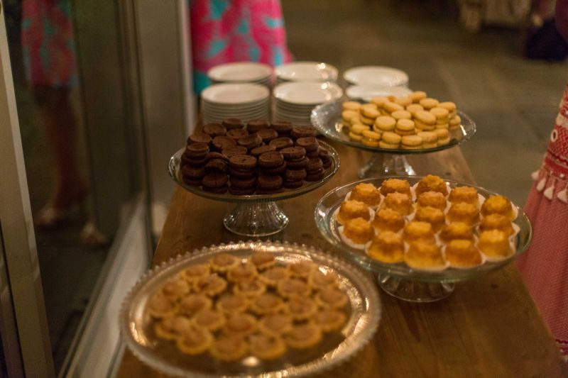 Desserts for the night included lemon sandwich cookies, double chocolate sandwiches, milk chocolate peanut butter bites, pecan tassies, mini pineapple upside down cakes, and bourbon butterscotch blondies and coffee.