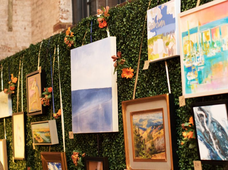 Works from Charleston artists were creatively displayed to be auctioned off.