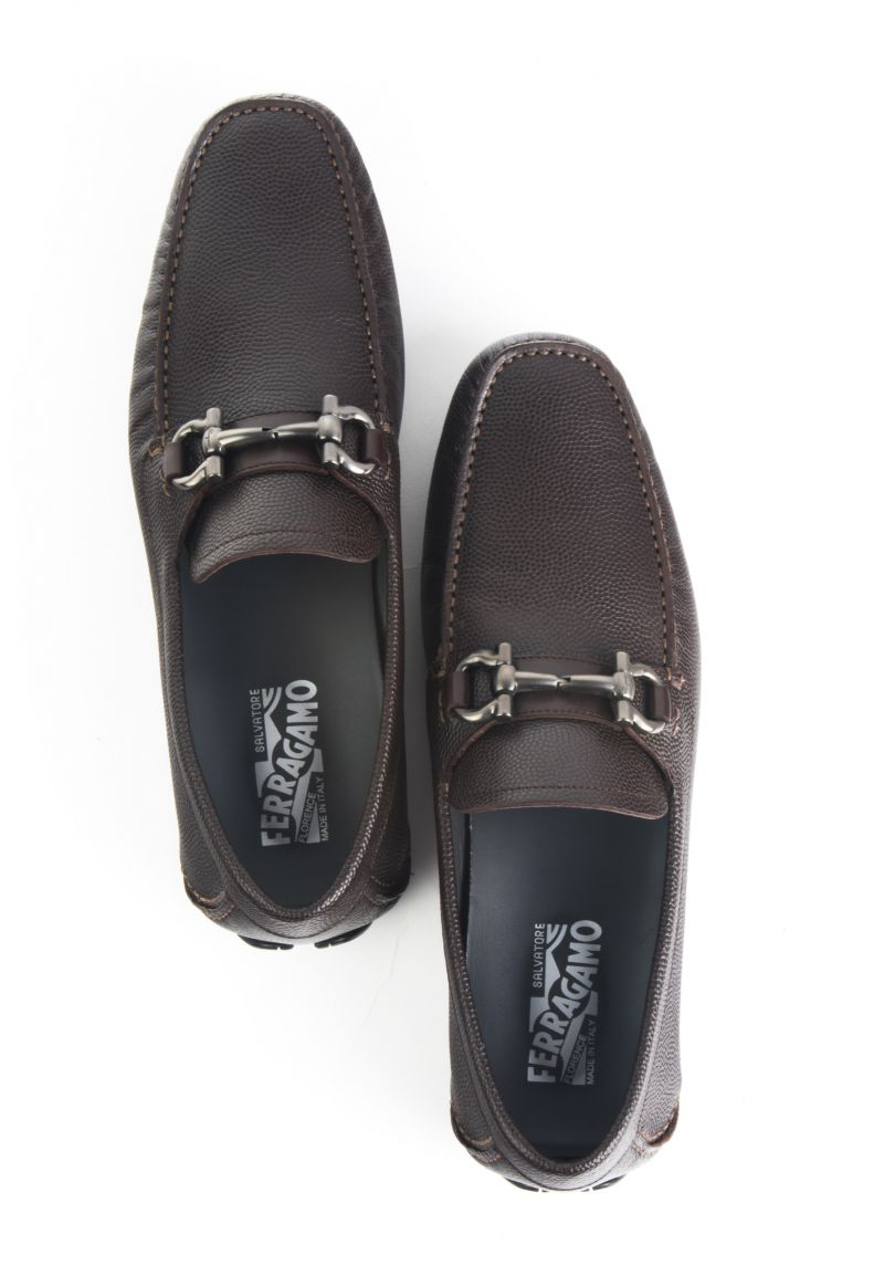 "Salvatore Ferragamo, Parigi ""chocolate pebble"" calfskin drivers, $595 at Dumas"