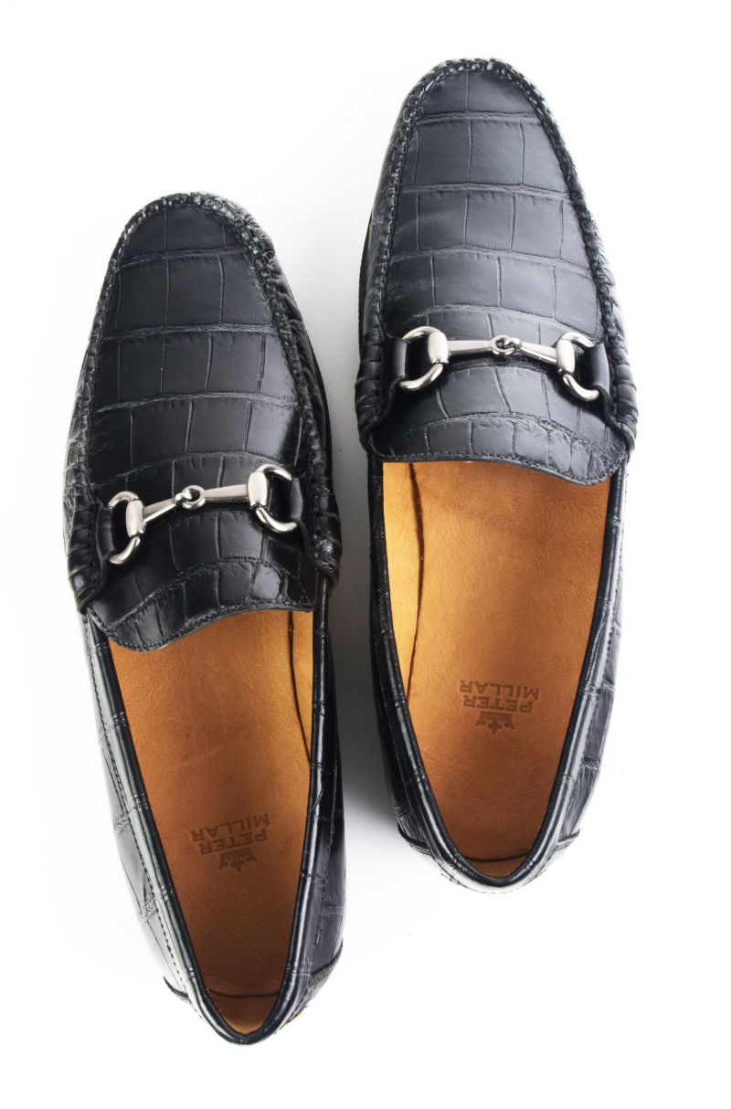 "Peter Millar, ""Bit Croc"" loafer in ""black"", $245 at Grady Ervin"
