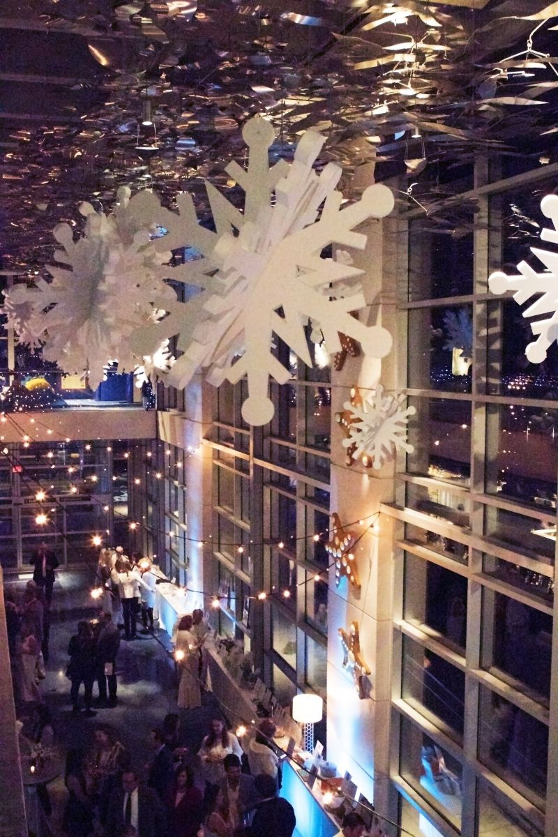 The aquarium was decked out in shimmering snowflakes and lights.