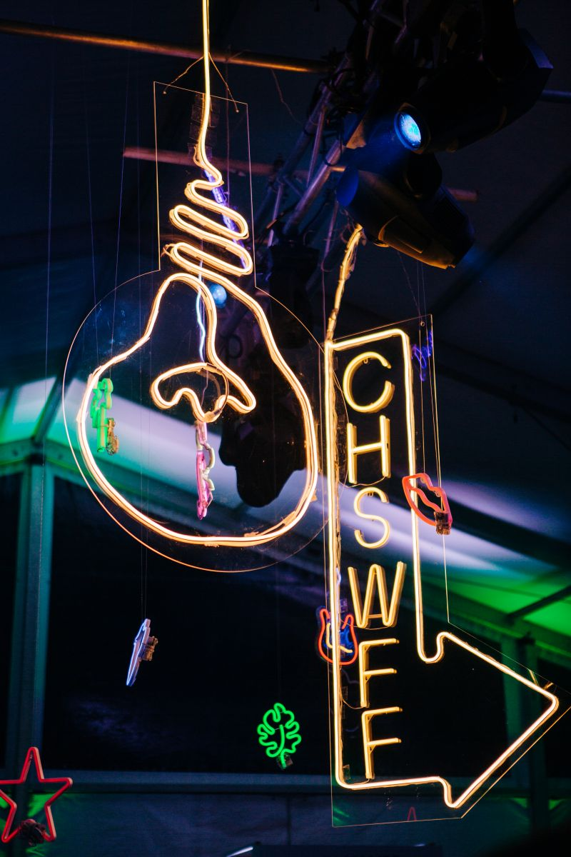 Guests loved taking photos beneath the neon decorations