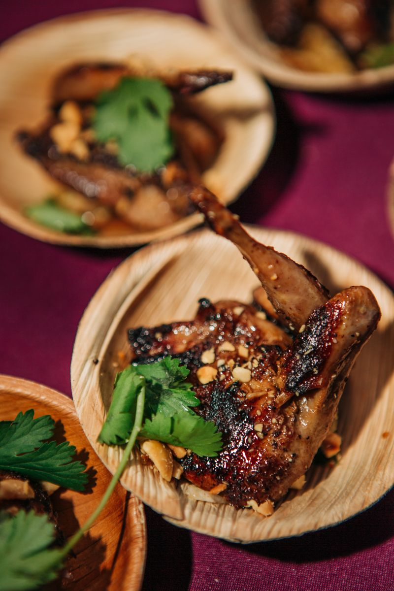 Anson's succulent barbeque quail from Manchester Farms