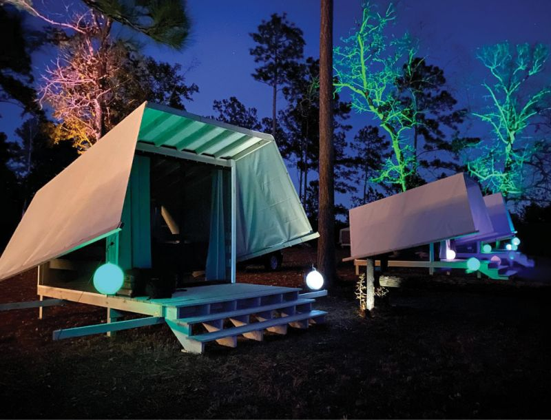 Spend the day exploring 6,000 acres, including 11 lakes; a blackwater swamp; and hiking, biking, and horseback riding trails or stay the night in one of the Zun tent cabins