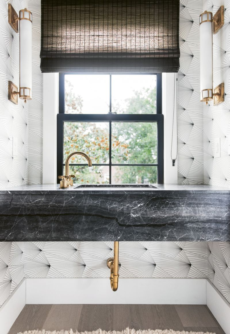 "This powder-room isn't upholstered, it's a trompe-l'œil effect created by Erika Wakerly ""Fan"" wallpaper."