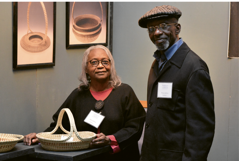 Family Enterprise: Jackson credits her husband, Stoney, who specializes in bulrush baskets, for suggesting design ideas. He also harvests her materials and has been a steady presence throughout her career.
