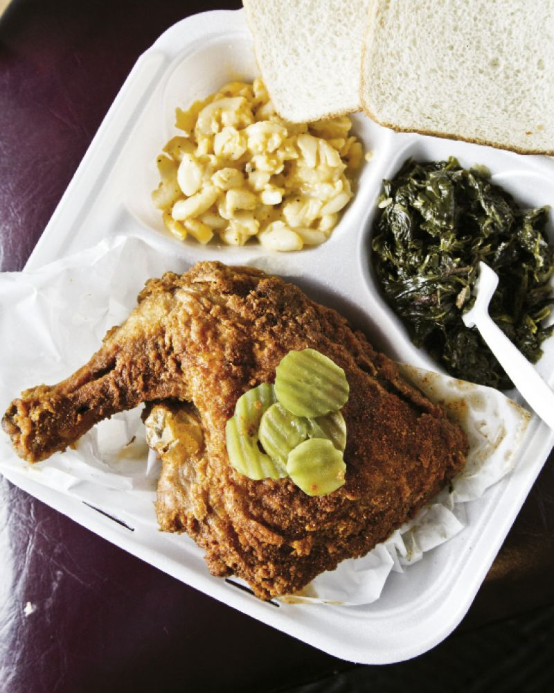 Pepper-hot fried chicken is a Nashville standard. Left: lunch at Bolton's Spicy Chicken & Fish—when the chicken makes you sweat, there's always mac'n'cheese and greens.