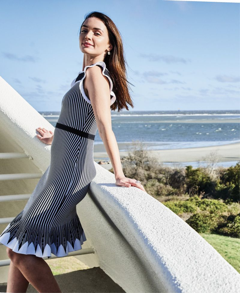 "FLIRTY FLAIR - Shoshanna ""Sinead"" knit dress, $398 at Berlin's for Women; Single Stone ""Cobblestone"" diamond drop earrings, $14,000 at Croghan's Jewel Box; David Yurman ""Tides"" sterling silver ring with pavé diamond plate, $2,600 at REEDS Jewelers"
