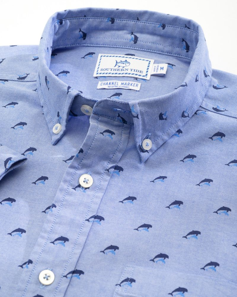 Southern Tide dolphin print performance short sleeve button down shirt, $110 at Southern Tide