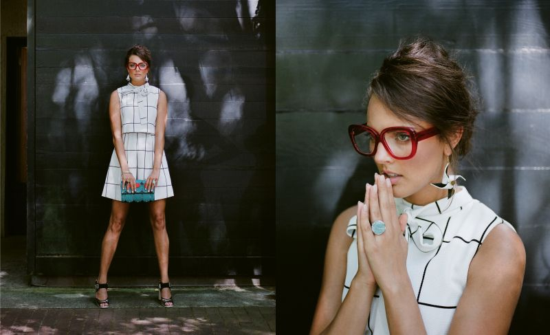 "Square Space: Gracia belted windowpane print dress, $68 at Très Carmen; Ellia Wang turquoise pillow clutch, $594 at Maris Dehart; sterling-silver ring with black onyx, $60 at Gold Creations; and Marni silver block heel, $970 at Hampden Clothing. (Opposite) ""Caroline"" glasses in ""cherry red,"" $465 at Friedrich's Optik; Ellia Wang Geometry Collection pinwheel earrings, $78 at Maris Dehart; and 14K white-gold ring with amazonite crystal and diamonds, $1,575 at Gold Creations"