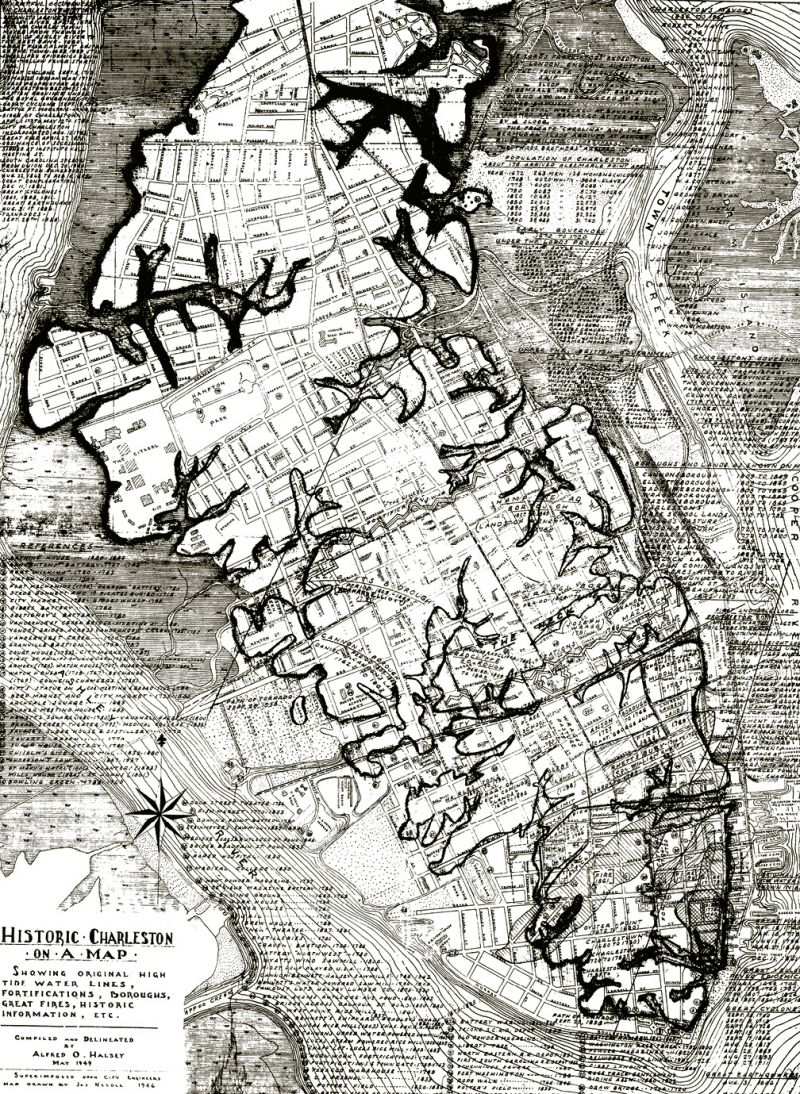 A historic Halsey Map shows the original creek bed lines on the peninsula...