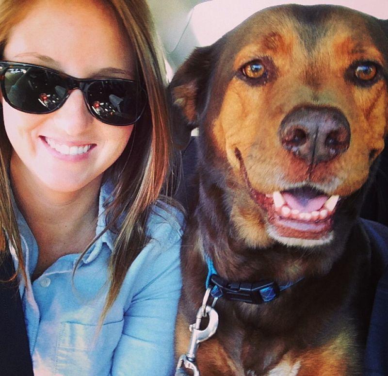 Advertising Production Designer, Christine Dorsey and her dog Bentley