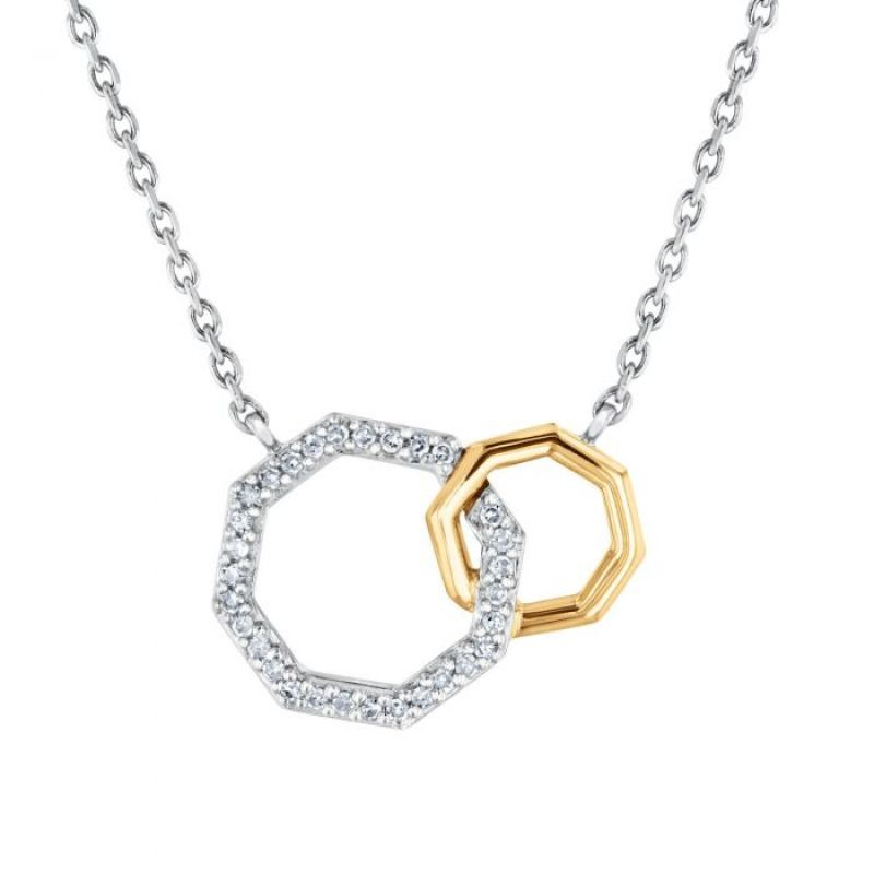 """REEDS exclusive Stop Collection 1/10 ctw """"Two-Tone Interlocking Octagon Diamond Necklace,"""" $150 at REEDS Jewelers"""