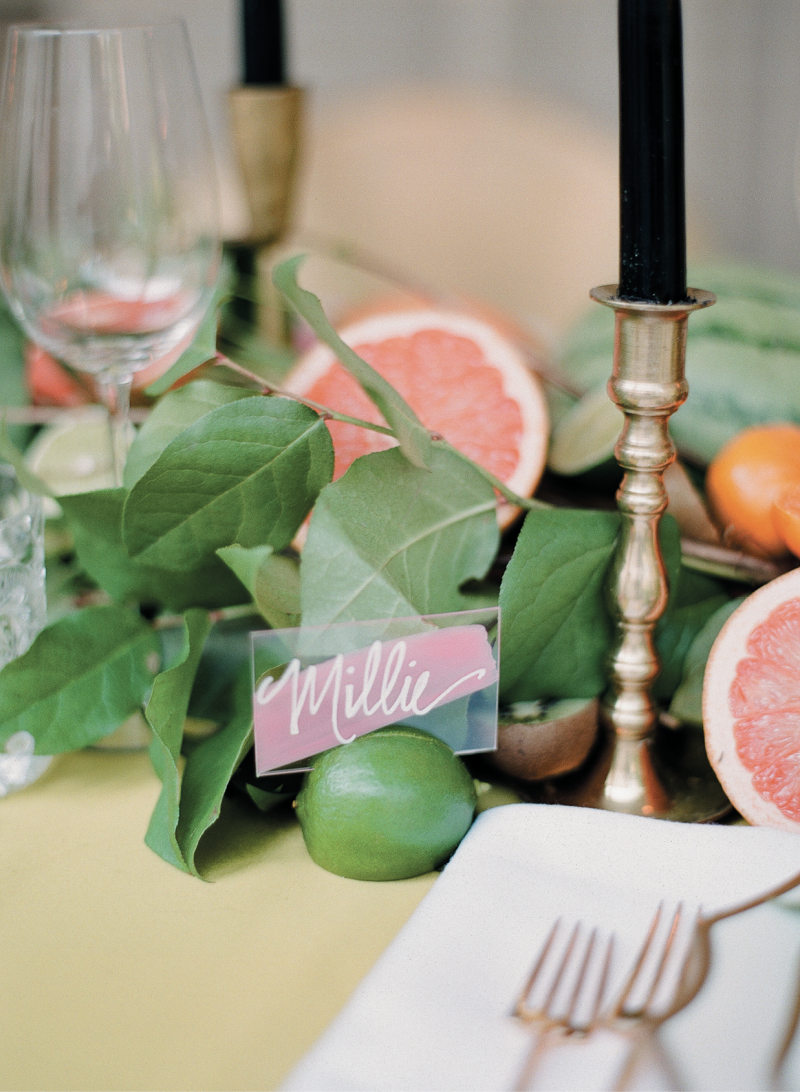 ...to the simply perfect lime place-card holders.