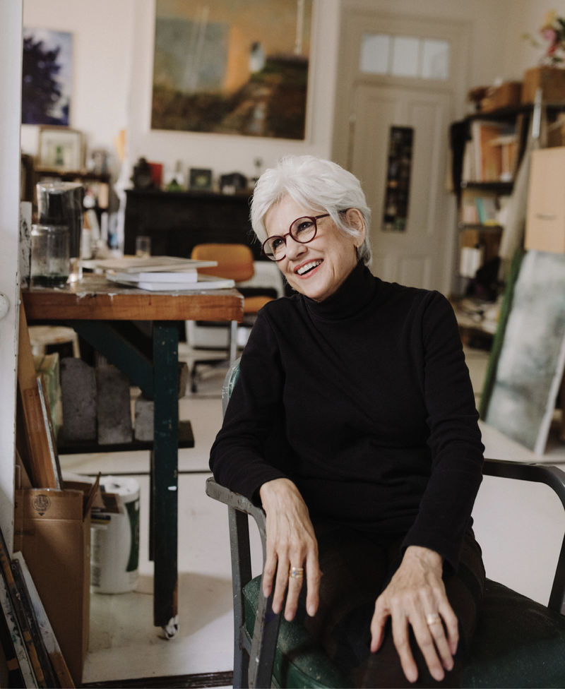 Fresh Vision: While Linda Fantuzzo has been a mainstay of the Charleston art community for decades, she continues to push boundaries. Pictured here in her Bull Street studio, she takes a break from finishing a new work for her upcoming City Gallery exhibit.