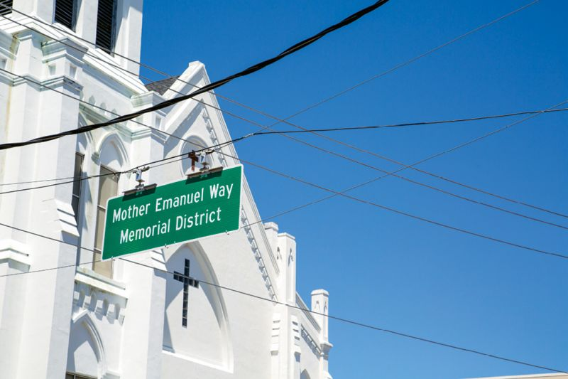 Last September, City Council passed a resolution to create the Mother Emanuel Way Memorial District, a section of Calhoun in front of the church between Meeting and Concord streets. Photograph by Michael Powell